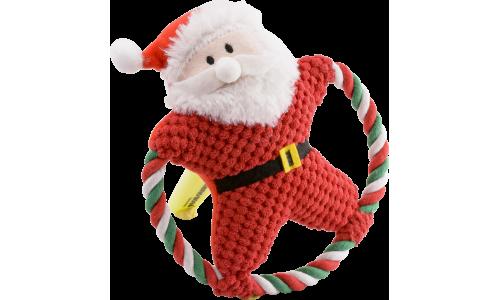 Jouet Sonore à Mâcher Cartoon de Noël avec Corde et Peluche en Coton pour Chien